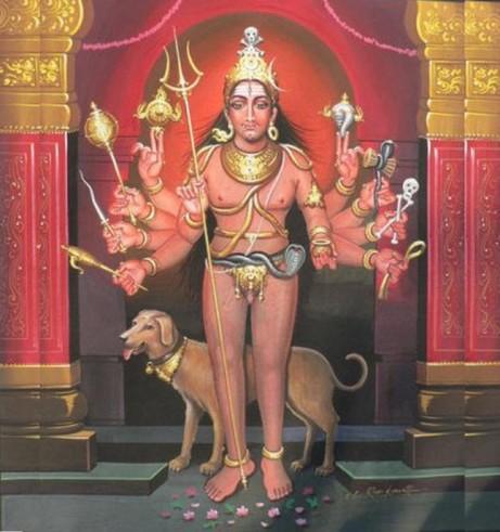 Shiva mit seinem historischen Reittier, dem Hund