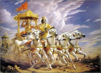 Krishna mit Arjuna