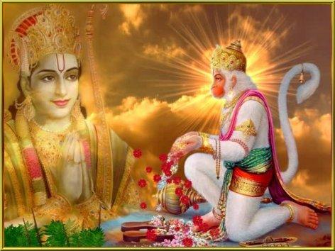 Hanuman betet zu Rama