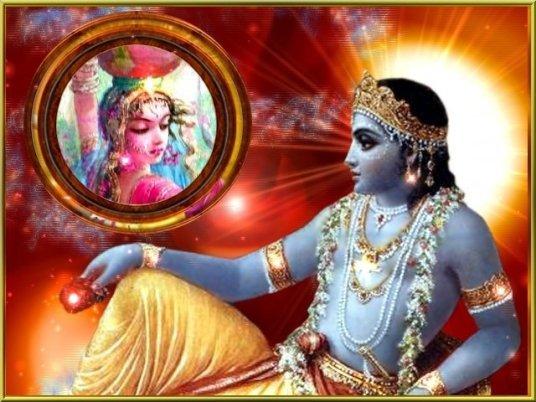 Krishna sieht seine Radha im Spiegel