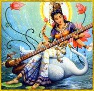 Saraswati auf ihrem Reittier, dem Schwan