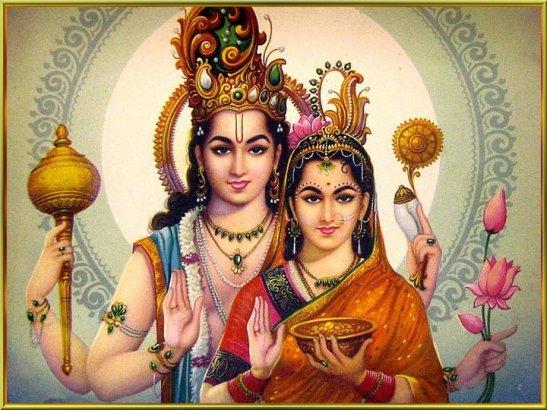 Lakshmi mit Vishnu