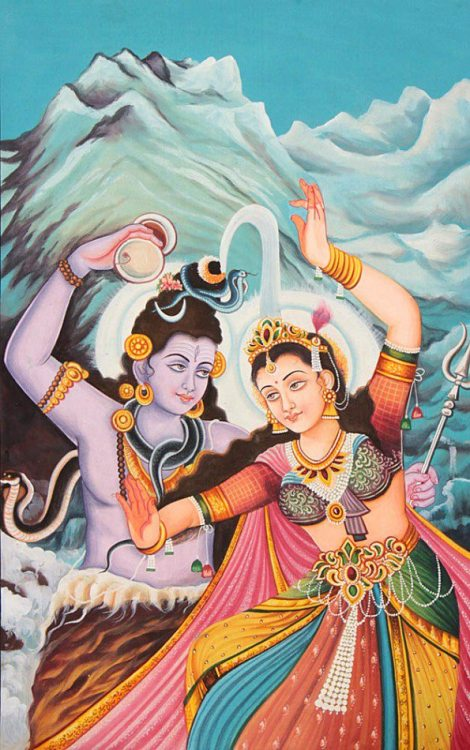 Shiva und Parvati im kosmischen Tanz