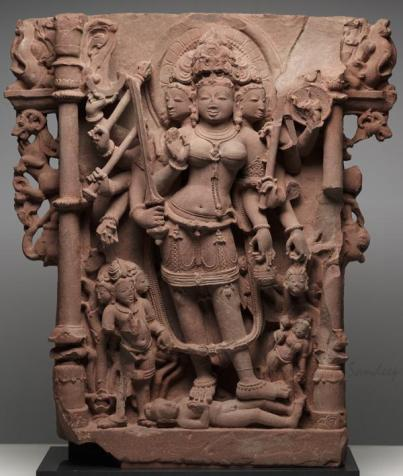 Durgha as the triumphant conqueror of the buffalo demon, who had attacked the Hindu gods