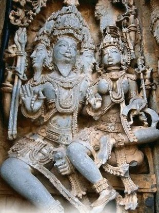 Lord Brahma and Saraswati at Halebid