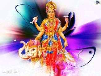 Lakshmi mit Ganesha, Fangschlinge und Vishnus Wurfstern