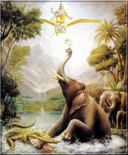 Vishnu rettet den Elefantenkönig Gajendra