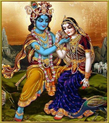 Krishna charmiert Radha
