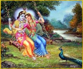 Krishna mit Radha auf der Schaukel, davor sein Pfau