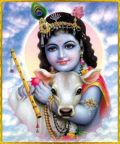 Krishna als Baby, im Arm ein Kalb