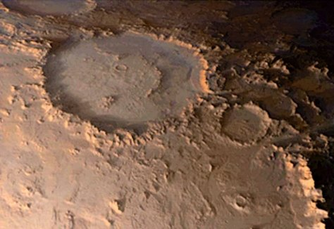 MARS GLOBAL SURVEYOR VIEW OF HAPPY FACE CRATER