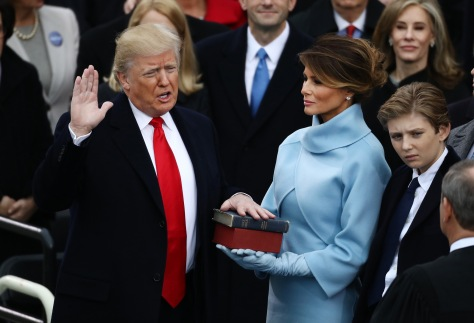 during the 58th presidential inauguration in Washington, D.C., U.S., on Friday, Jan. 20, 2017. Donald Trump will become the 45th president of the United States today, in a celebration of American unity for a country that is anything but unified. Photographer: Andrew Harrer/Bloomberg